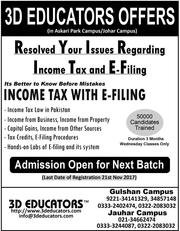 "3D EDUCATORS ""Income Tax With E-Filing"""